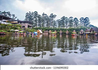 Bandung, West Java, Indonesia (July 2018) : Dusun Bambu (wooden village), a tourist destination for family leisure, become a popular tourist destination in Bandung, West Java.