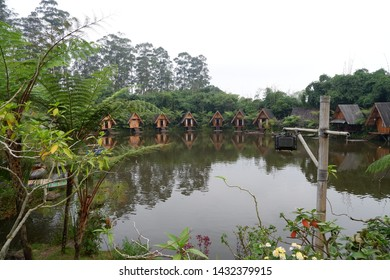 Bandung, West Java Indonesia - June 2nd 2019 : a view from lake in 'Dusun Bambu' Bamboo village Bandung West Java Indonesia
