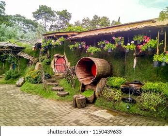 Bandung, West Java / Indonesia - March 08 2018: Hobbiton the Hobbit Village in Farm House Lembang, Java