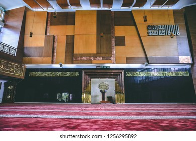 Bandung, West Java / Indonesia - November 25th 2018: The Mihrab and the Interior Design of Gedung Sate Mosque, Al Muttaqin