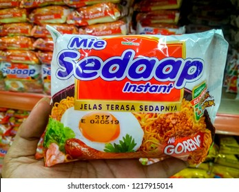 Bandung, West Java / Indonesia - October 14th 2018: Mie Sedaap Instant in the Supermarket