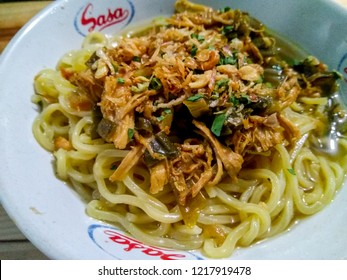 Bandung, West Java / Indonesia - October 14th 2018: Indonesian Traditional Food Mie Ayam