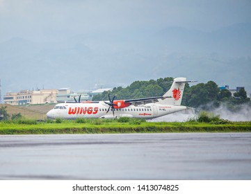 Bandung, West Java, Indonesia : Wings Air ATR airplane just landed in Husein Sastranegara airport Bandung (04/2017).