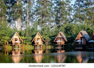 Bandung, West Java/Indonesia - 29th July 2015: Waterfront Resorts with Lake View in Dusun Bambu Bandung