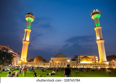 Bandung, West Java/Indonesia - August 27 2015: Great Mosque in Bandung city west java Indonesia, this place located in main center of the city. Lots of people visit this place to hang around