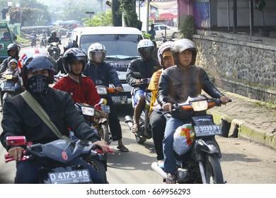 bandung,west java,indonesia-april 21 2013(traffic at bandung street)