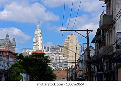 Banespa building highlighted under blue sky, seen from street Cereal Zone, in the district of Bras. Sao Paulo, Brazil