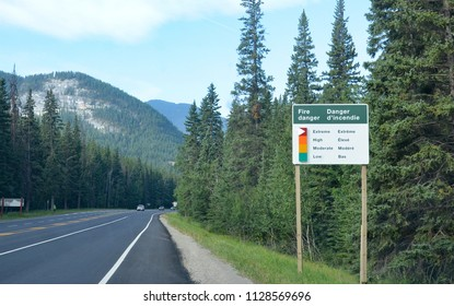 BANFF, AB / CANADA - JULY 27, 2017:  FIre Danger sign set at Extreme on the Trans-Canada Highway int the Canadian Rockies.
