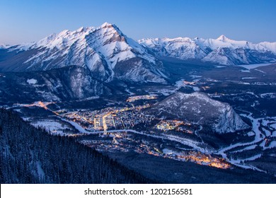 BANFF, AB - February 9, 2018 Views from the Banff Gondola at sunset during the winter