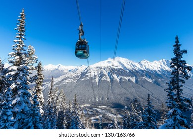 Banff, Alberta / Canada - 2.6.2019: Gondola winter views at Sulphur Mountain, Travel Alberta, Tourism, Banff National Park, Canada