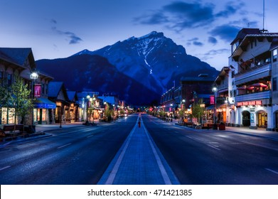 Banff, Alberta, Canada - June 1, 2009 : :night view of Main Street of Banff townsite in Banff National Park, Alberta