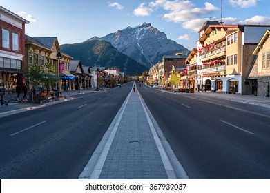 Banff, Alberta, Canada - June 1,2009 :scenic view of Main street of Banff townsite in Banff National Park, Alberta