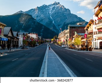 Banff, Alberta, Canada - June 1,2009 close view of Main street of Banff townsite in Banff National Park, Alberta