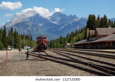 Banff, Alberta, Canada - June 20, 2018: Train Station in the City during a sunny summer day.