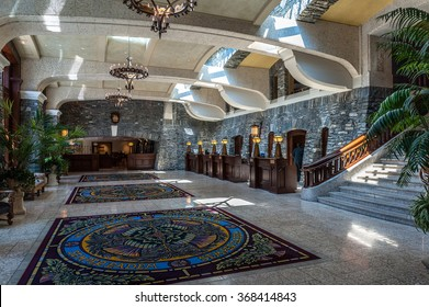 Banff, Alberta, Canada - June 2,2006 : entrance hall of Fairmont Banff Springs Hotel, Banff, Alberta