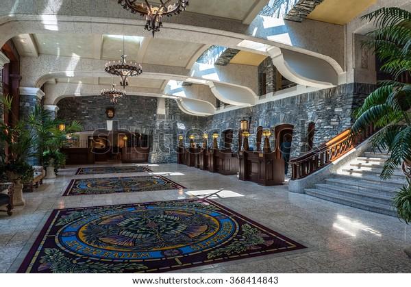 Banff, Alberta, Canada - June 2,2006 : entrance hall of Fairmont Banff Springs Hotel, Banff, Alberta