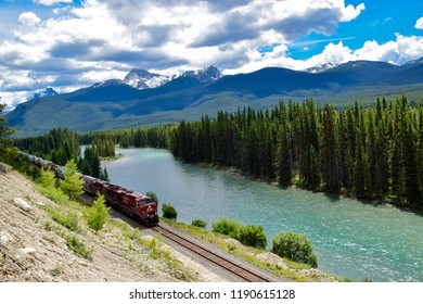 BANFF, ALBERTA, CANADA, JUNE 26, 2016:  Morant's Curve, with a Freight train, The Famous Spot along the Canadian Pacific Railway, Alberta, Canada
