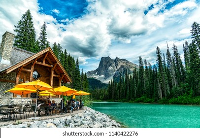 Banff, Alberta/ Canada - June 27 2018 : Wonderful Emerald Lake surround view from Emerald Lake lodge in Yoho National Park 3, BC, Canada.