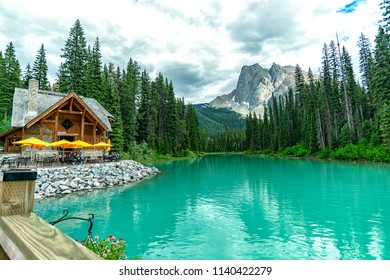 Banff, Alberta/ Canada - June 27 2018 : Wonderful Emerald Lake surround view from Emerald Lake lodge in Yoho National Park 2, BC, Canada.