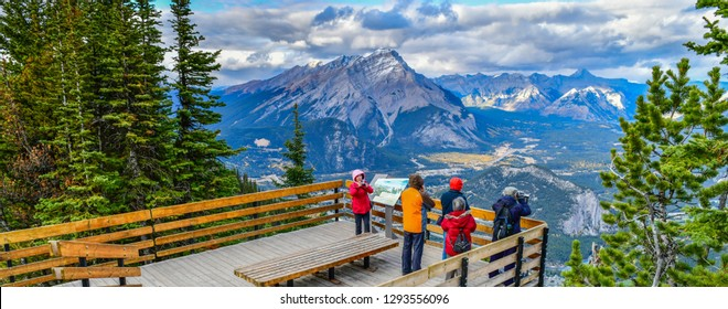 BANFF, ALBERTA, CANADA - OCTOBER 2,2017: View point Sulphur Mountain connecting Gondola landing.Gondola ride to Sulphur Moutain overlooks the Bow Valley and the town of Banff.Canada - Image