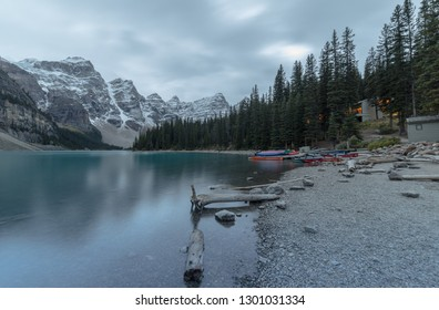 BANFF, ALBERTA September, 2017: Canoes at Moraine Lake in Banff National Park, Alberta, Canada
