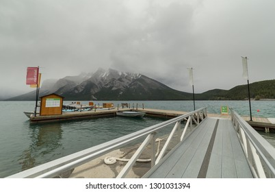BANFF, ALBERTA September, 2017: Dock of the Lake Minnewanka Cruise in Banff, Alberta, Canada