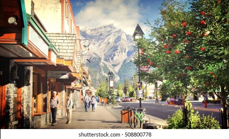 BANFF , CANADA - 09 / 09 / 2016 ; Tourist are shopping in Banff town. Banff is one of Canada most popular tourist destinations, known for its mountainous surroundings