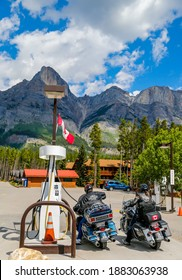 BANFF, CANADA - JULY 27, 2014: Motorcyclists in Banff National Park. Banff National Park is Canada's oldest national park, established in 1885 in the Rocky Mountains