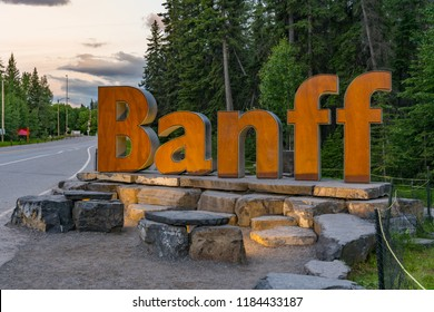BANFF, CANADA - JULY 4, 2018: Wood welcome sculpture outside of the town of Banff, Alberta Canada