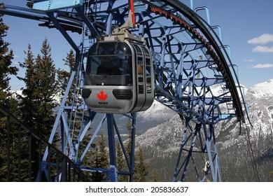 Banff, Canada - May 11, 2011: Banff Sulphur Mountain Gondola at the arrival at the mountain station.