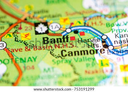 Map Of Canada Banff.Banff Canada On Map Stock Photo Edit Now 753191299 Shutterstock