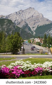 Banff High Street and Cascade Mountain in the Canadian Rockies