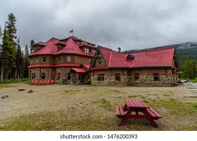 Banff National Park, Alberta / Canada - July 05 2019: Num-Ti-Jah lodge near Bow Lake
