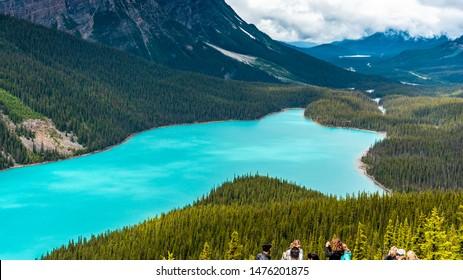 Banff National Park, Alberta / Canada - July 05 2019: Tourists enjoying view at the Peyto Lake lookout