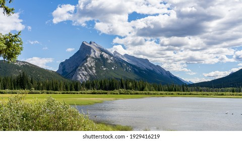 Banff National Park beautiful landscape, Vermilion Lakes and Mount Rundle in summer time. Canadian Rockies, Alberta, Canada.