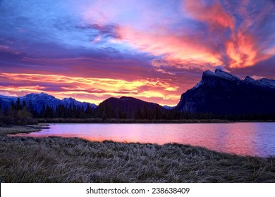 """""""Banff Sunrises Six Minutes Later"""" Second capture of a colorful October sunrise behind Mount Rundle as captured from the Vermilion Lakes just outside Banff. The Fairholme Range is in view on the left."""