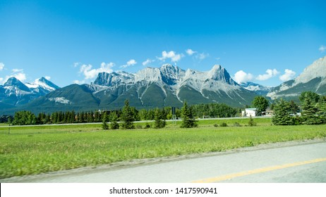 Banff/Alberta/Canada - Jun 17 2018: Partial View of Trans-Canada HWY in Canmore