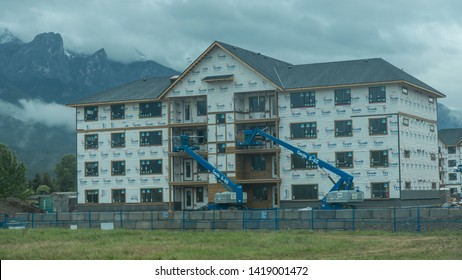 Banff/Alberta/Canada - Jun 17 2018: Partial view of downtown in Canmore