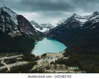 Banff,Alberta,Canada, Oct 1st 2018: Ariel view of the world renowned Fairmont Chateau Lake Louise Hotel