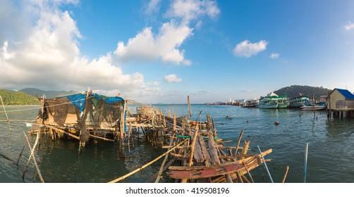 BANG BAO, THAILAND - JANUARY 19: View of Fishing village on stilts at high tide in Bang Bao Village on Koh Chang tropical island. Thailand 2016