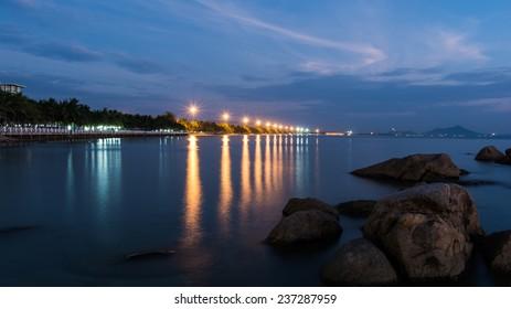 Bang Saen beach at night