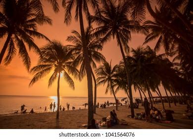 the Bang Saen Beach at the Town of Bangsaen in the Provinz Chonburi in Thailand.  Thailand, Bangsaen, November, 2017