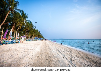 Bang Saen, Chonburi, Thailand - February13, 2019 : Rent chairs Table with umbrella on the Beach.
