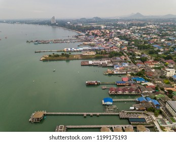 Bang Sare / Thailand - September 11 2018: Bride eye view at Bang Sare Beach, Sattahip District in Chonburi Province.