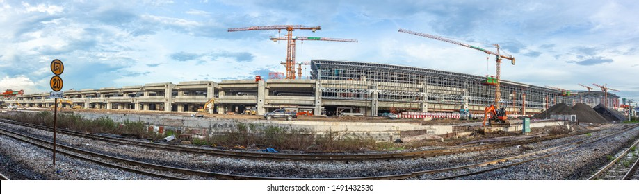 Bang Sue Central Station or Bang Sue Grand Station in Chatuchak transport hub scheduled opening in 2012  Construction site landscape. 17 August 2018.Bangkok, THAILAND.