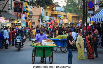 BANGALORE, BENGALURU, KARNATAKA, INDIA, FEBRUARY 18, 2018: A busy evening from Food street Bangalore, Bengaluru, Karnataka, INDIA