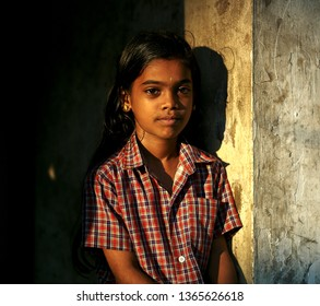 Bangalore, India - 23 Feb 2018: Unidentified authentic portraits of cute girl in India