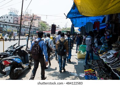 BANGALORE, INDIA - APRIL 12, 2016: crowd of people walking at the bazaar in front of majestic bus station
