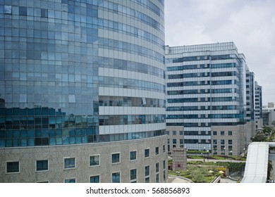 BANGALORE, INDIA - AUG 14: Skyline of International Tech Park on August 14, 2011 in Bangalore, India. The park, equipped with modern facilities, offer offices to many international companies.