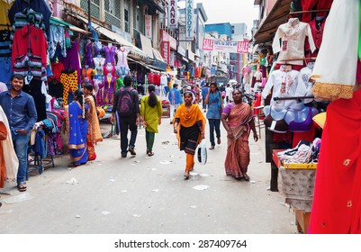 BANGALORE, INDIA - DEC 25, 2014: Russell Market is a shopping market in Bangalore, built in 1927 by the British.